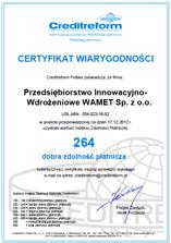 Certyfikat Wiarygodności 2012
